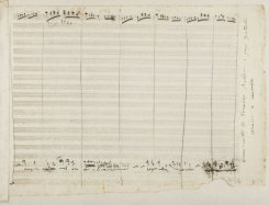 This handout photo provided on September 19, 2013 by the National Library of Spain (Biblioteca Nacional de Espana) shows a fragment of an opera score by Italian composer Vincenzo Bellini found in between the pages of an album of 19th century photographs and drawings.