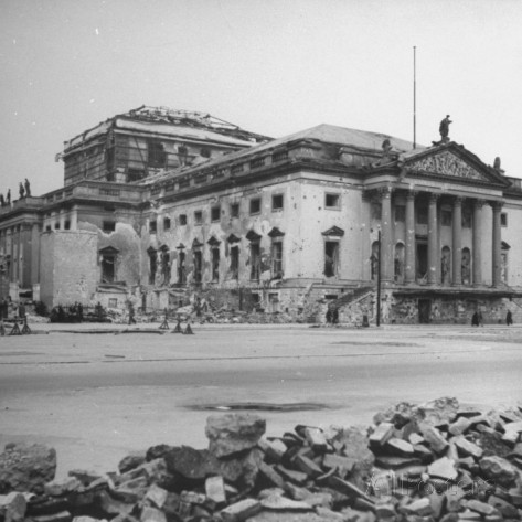 Bullet scarred and bombed out State Opera House after allied capture of the city