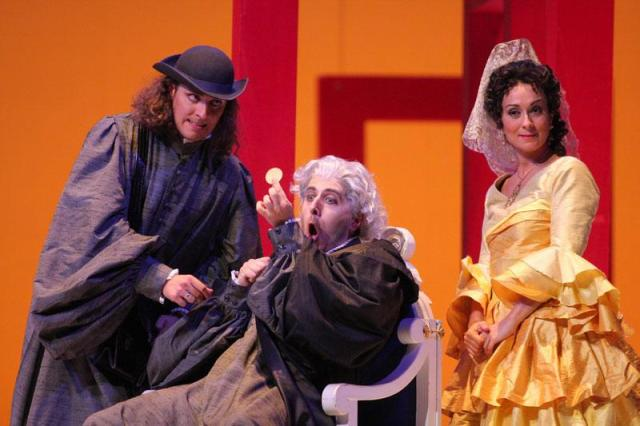 Tagliavini (in the center) in Il barbiere di Siviglia...